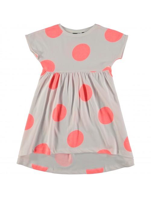 Vestido topos Molo Kids Cindy Giant Dots Blanco/Rosa