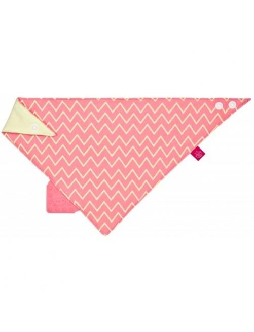 Bandana/Quitababas con mordedor silicona zigzag rosa