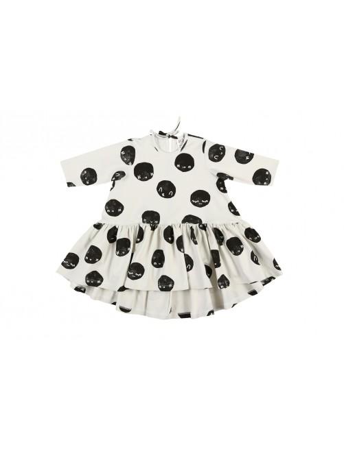 Vestido Longsleeve Kukukid Off White Moon Niña Moda Infantil Vuelo Dress