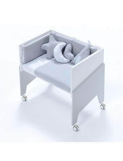Minicuna de colecho EQUO Gris Alondra (5 en 1) con textil Gris y colchón, cuna 2 accesorios bebes puericultura tienda online zaragoza