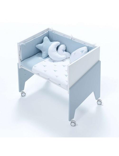 Minicuna de colecho EQUO Azul Alondra (5 en 1) con textil Azul y colchón, cuna 1 accesorios bebes puericultura tienda online zaragoza