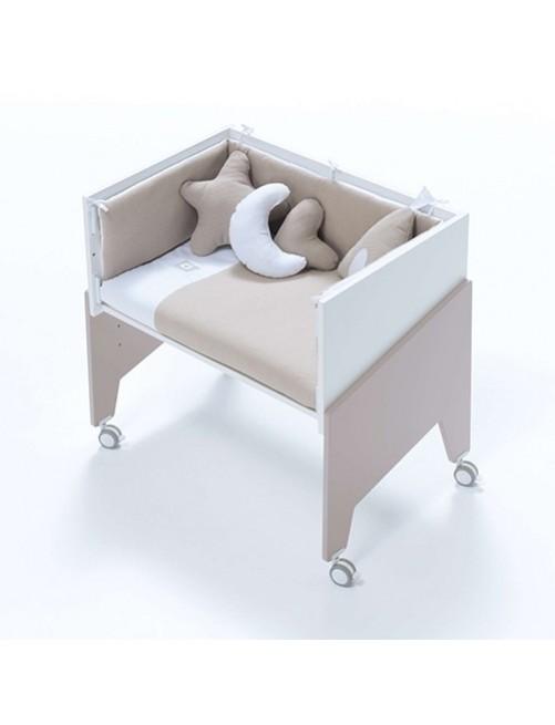 Minicuna de colecho EQUO Beige Alondra (5 en 1) con textil Beige y colchón, cuna 1 accesorios bebes puericultura tienda online zaragoza