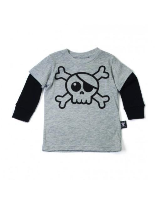 Camiseta manga larga Nununu Skull gris  moda infantil alternativa niño niña