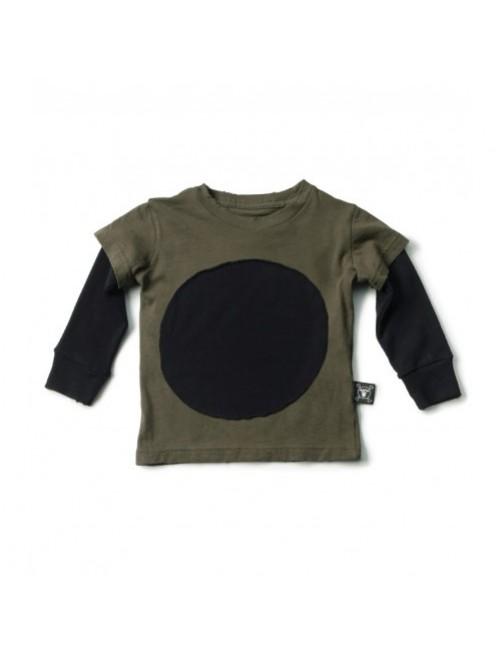 Camiseta manga larga Nununu Circle Patch Olive moda infantil alternativa original moderna diferente niño niña