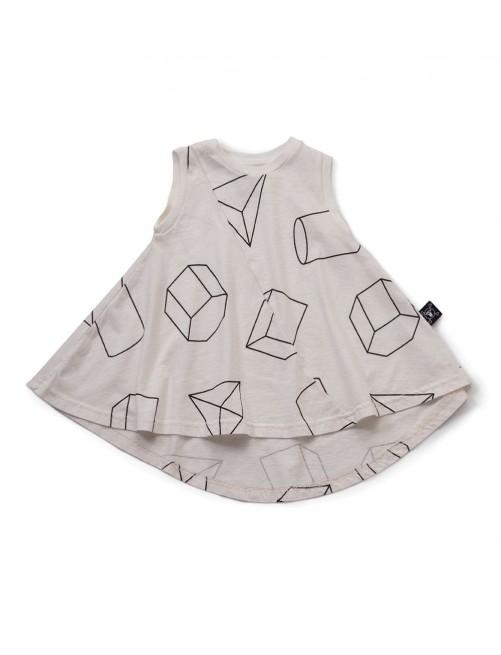 Vestido Nununu Geometric 360 Tank Dress White