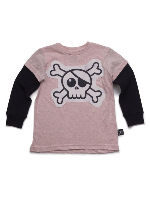 Camiseta Manga Larga Nununu Skull Patch Pink