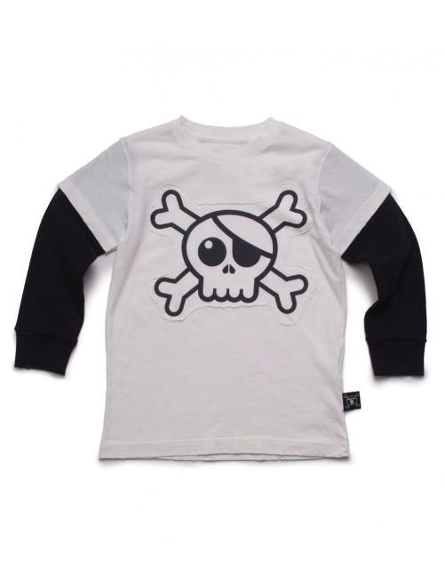 Camiseta Manga Larga Nununu Skull Patch white