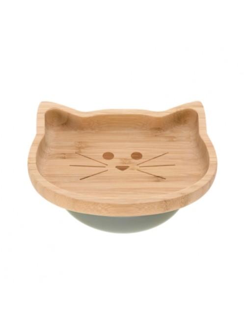 Plato-bamboo-wood-little-chums-cat-verde-bebe-accesorios-blw-alimentacion-infantil-tienda-online-zaragoza-puericultura