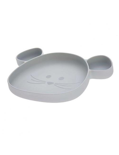 Plato-silicona-infantil-placemate-lassig-little-chums-mouse-grey-gris-ventosa-accesorios-comida-comer-bebes-puericultura-tienda-online-zaragoza