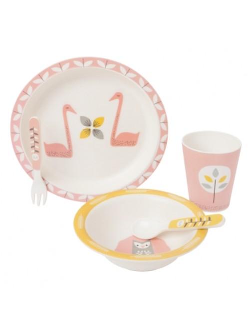 Vajilla-Bamboo-Cisne-Rosa-Fresk-Bebe-Accesorios-Alimentacion-infantil-dinner-Tienda-Online-Zaragoza