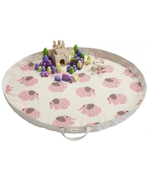 Play Mat Bag 3 Sprouts Elefante Rosa Organizador Juguetes niños