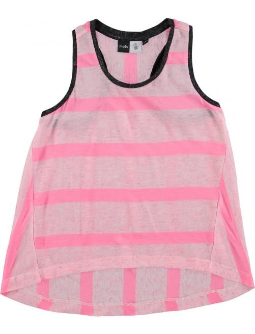 Camiseta Molo Kids Rosetta Pink Melange Stripe