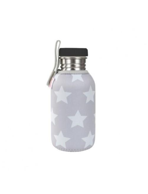 Botella-Acero-con-Funda-Gris-Estrellas-Accesorios-Agua-Bebes-Tienda-Zaragoza-Online