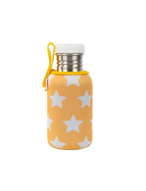 Botella-Acero-con-Funda-Neopreno-Estrellas-Mostaza-Agua-Tienda-Puericultura-Bebes-Zaragoza-Online