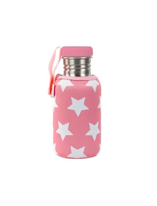 Botella-Acero-con-Funda-Neopreno-Estrellas-Rosa-Agua-Tienda-Puericultura-Bebes-Zaragoza-Online
