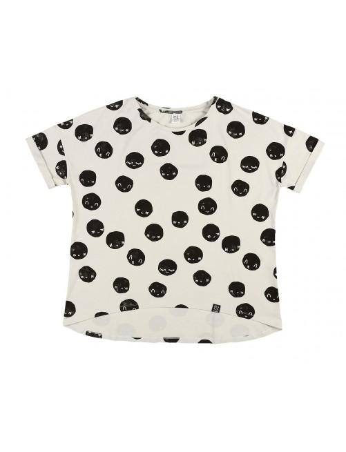 Camiseta Mommy Kukukid Off White Moon Cotton