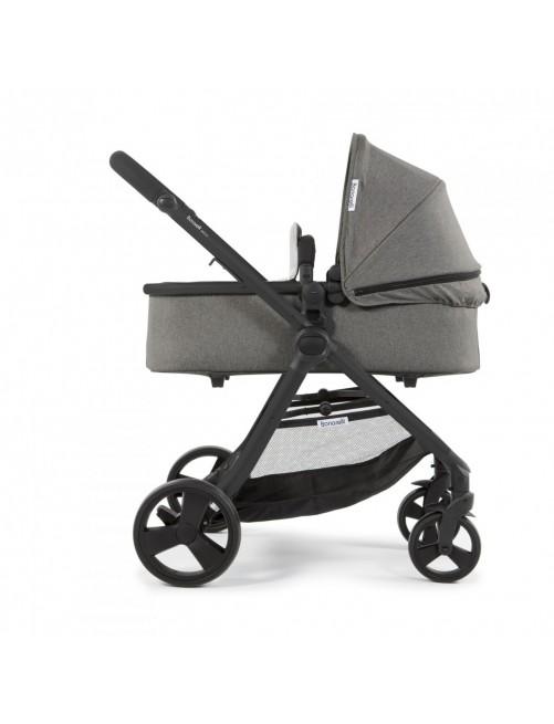 Carrito 3 en 1 Bonarelli 300 2.0 Urban Grey Medium Chasis Negro silla+capazo+grupo0 puericultura zaragoza1