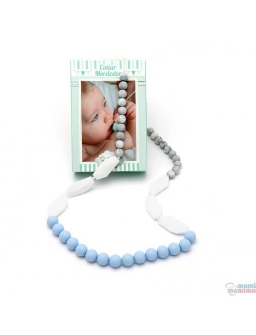 Collar de Lactancia Mordedor Silicona Mami Me Mima Sweet Blue mama puericultura zaragoza