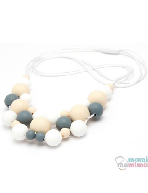 Collar de Lactancia Mordedor Silicona Mami Me Mima Modelo Jewelry Grey mama puericultura zaragoza tienda online bebes