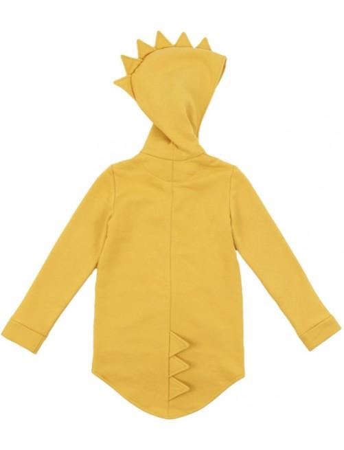 Sudadera Dino Hoodie Kukukid Cotton Yellow