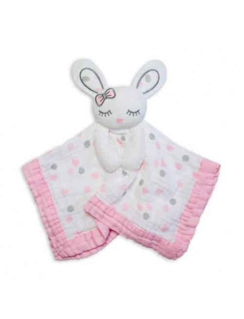 Doudou-Lulujo-Pink-Bunny-Muselina-Bebes-Tienda-Online-Zaragoza-Accesorios-Babyborm-Reciennacido-Mama