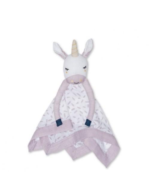 Doudou-Lulujo-Lovie-Unicornio-Muselina-Bebes-Tienda-Online-Zaragoza-Accesorios-Babyborm-Reciennacido-Mama