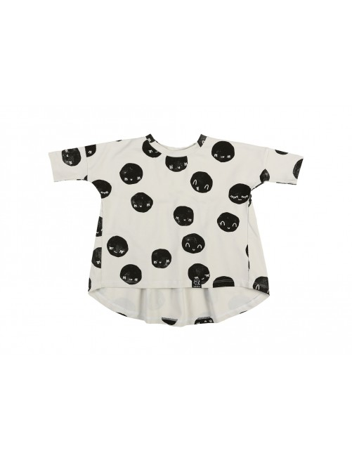 Camiseta Oversized Tunic off White Moon Kukukid Cotton