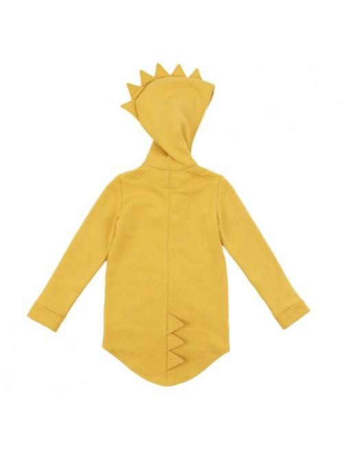 Sudadera Dino Hoodie Kukukid Cotton Yellow moda infantil zaragoza