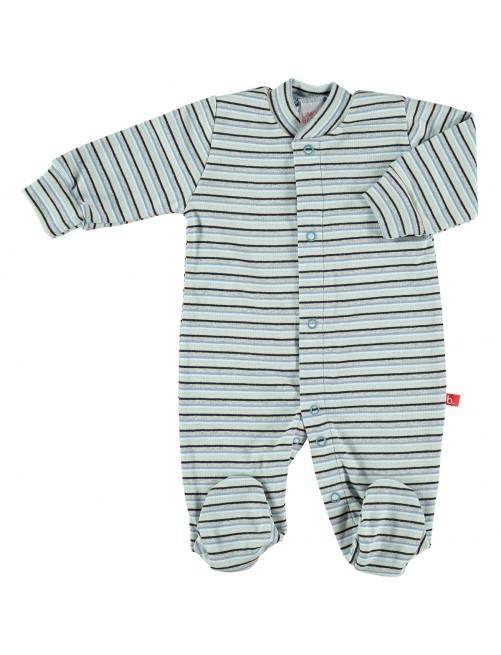 Pijama Limobasics Cierre Frontal Stripe Azul
