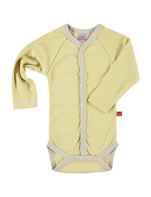 Body Limobasics Japones Manga Larga Stripes Amarillo bebe Algodón Organico