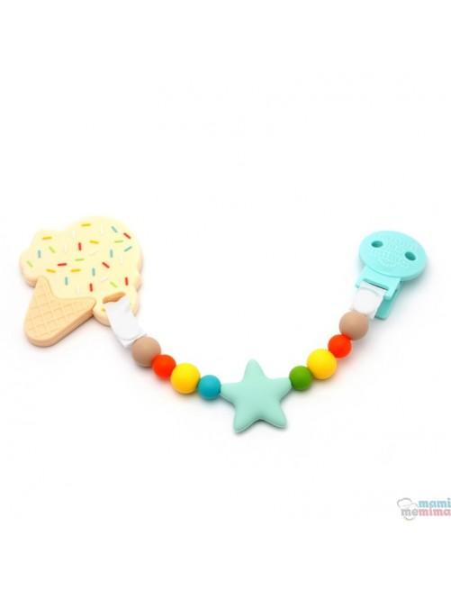 Pack Sujeta Chupetes Mordedor de Silicona Star Multicolored + Mordedor Ice Cream Natur mami Me Mima bebe