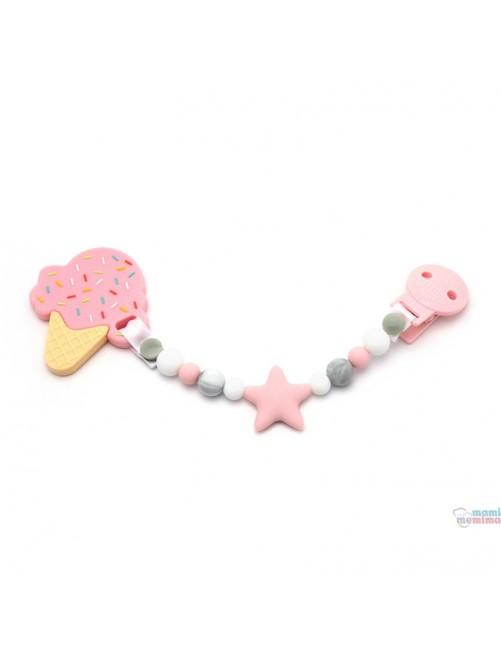 Pack Sujeta Chupetes Mordedor de Silicona Star Multicolored + Mordedor Ice Cream Pink Mami Me Mima bebe