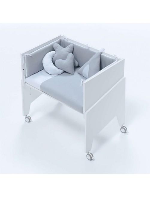 Minicuna de colecho EQUO Blanco Alondra (5 en 1) con textil Gris y colchón, cuna 1 accesorios bebes puericultura tienda online zaragoza