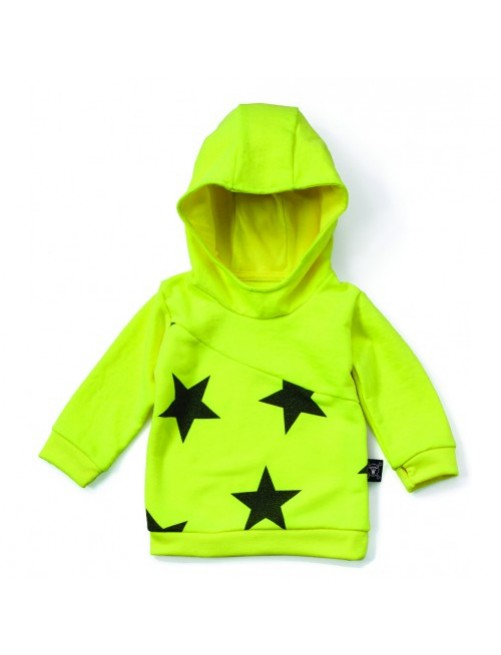 Sudadera Nununu Diagonal Neon Yellow moda infantil alternativa moderna diferente divertida comoda niño niña