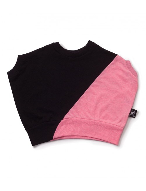 Camiseta Nununu Half & Half Round Shirt Black & Pink