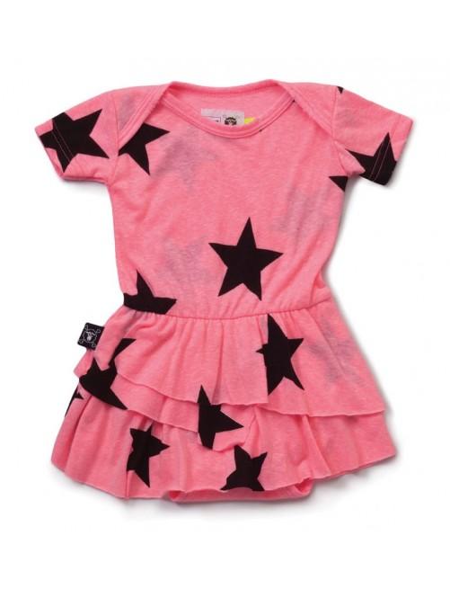 Vestido Body Nununu Star Onesie Skirt Pink