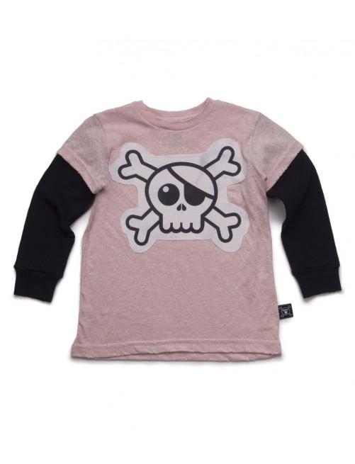 Camiseta Manga Larga Nununu Skull Patch Pink