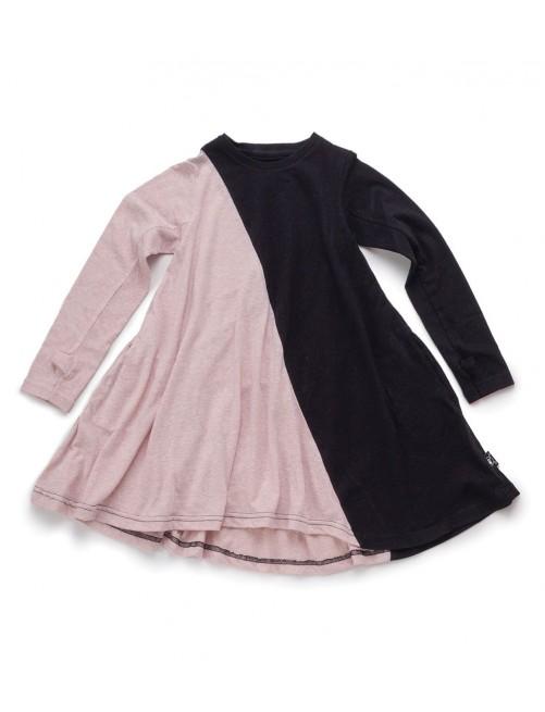 Vestido Nununu Half & Half 360 Dress Black & Powder Pink