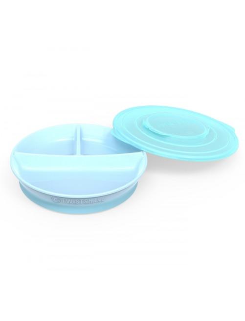 Plato Dividido Twistshake  6+ Azul Pastel Puericultura Zaragoza Bebe Comida Blw