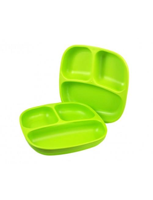 Pack 2 Plato/Bandeja Re-Play Verde Lima Reciclado Compartimentos Cenas Meriendas