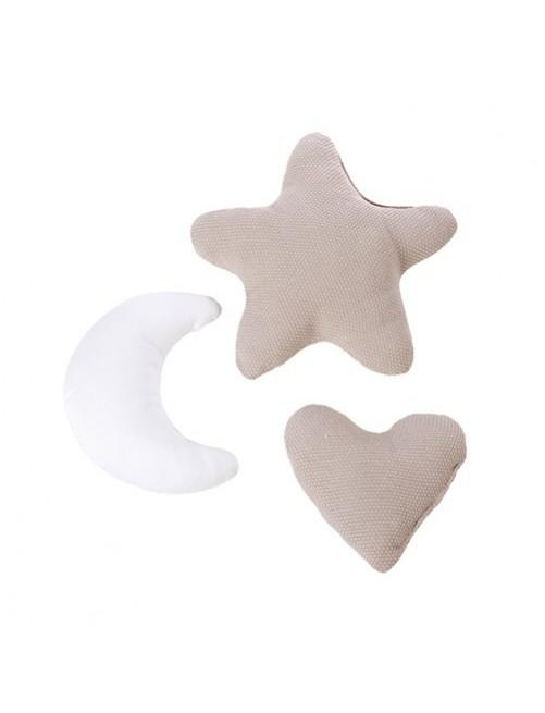 Set de 3 cojines infantiles Alondra Beige (estrella, luna y corazón) accesorios cuna minicuna decoracion bebes puericultura tienda online zaragoza