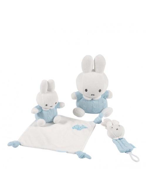 Set Miffy Azul- Doudou+Peluche+Cadena Chupete.