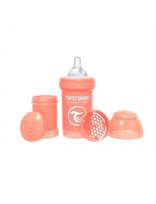 Twistshake-Biberón-Anticólico-Coral-Pastel-180ml-Puericultura-tienda-zaragoza-bebes-lactacia-online