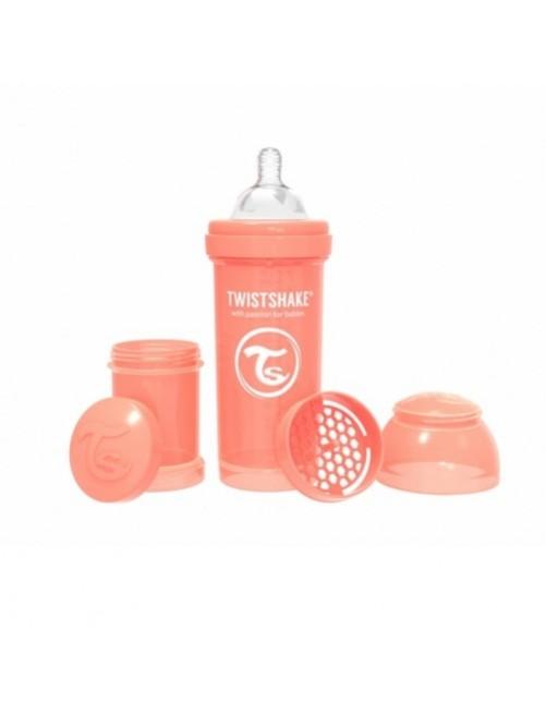 Twistshake-Biberón-Anticólico-Coral-Pastel-260ml-Puericultura-tienda-zaragoza-bebes-lactacia-online
