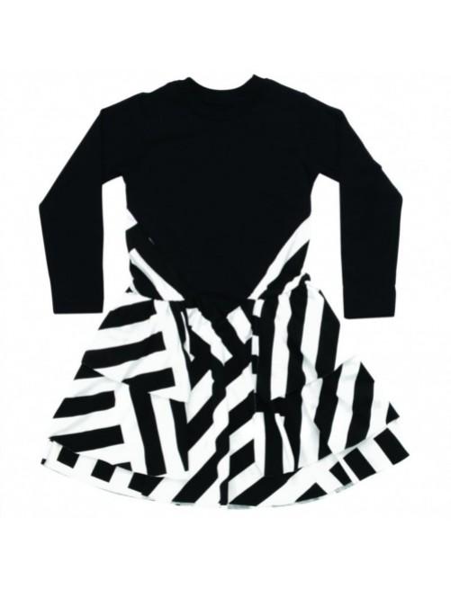Vestido_Nununu_Striped_Layered_Dress_Black_Niñas_Moda_Infantil_Alternativa_Tienda_Online_Zaragoza_Estilo_Dappbaby