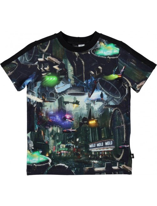Camiseta Molo Kids Rishi Sci-fi City