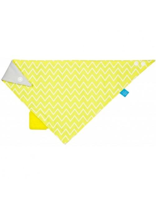 Bandana/Quitababas Lassig con mordedor silicona zigzag amarillo