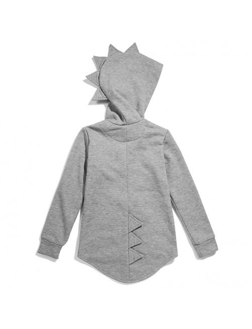 Sudadera Dino Hoodie Kukukid Cotton Grey Melange