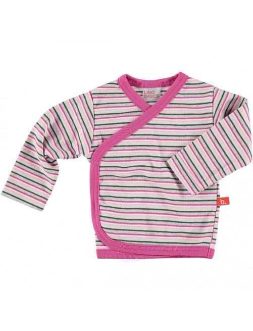 Camiseta Cruzada manga larga Limobasics Stripe Rosa.