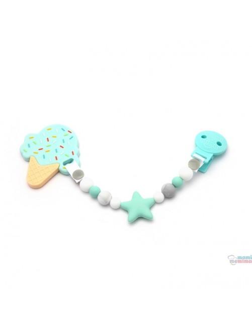 Pack Sujeta Chupetes Mordedor de Silicona Star Multicolored + Mordedor Ice Cream Mint Mami Me Mima